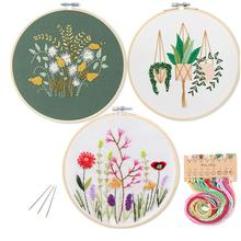 Набор для вышивки «сделай сам», набор для начинающих с цветами, растениями, узорами, тканью, цветными нитями, инструменты (без обруча)
