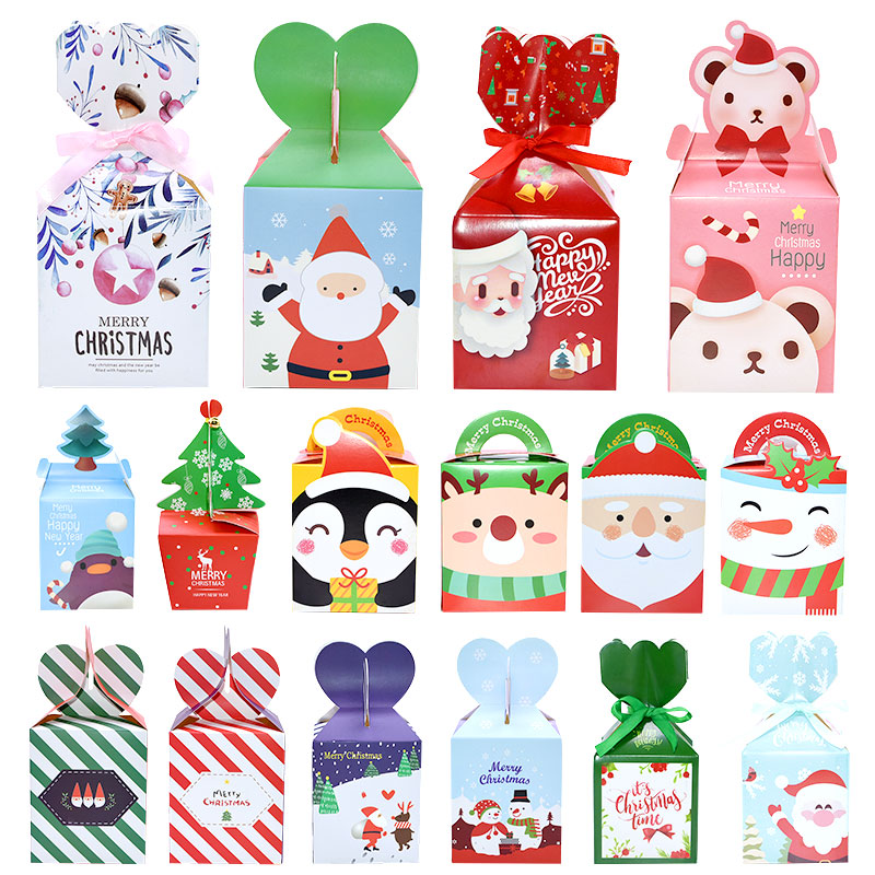 5Pcs Christmas Candy Box Christmas Eve Apple Box Packaging New Year Party Cookie Gift Box Christmas Party Favors Kids Gift Decor