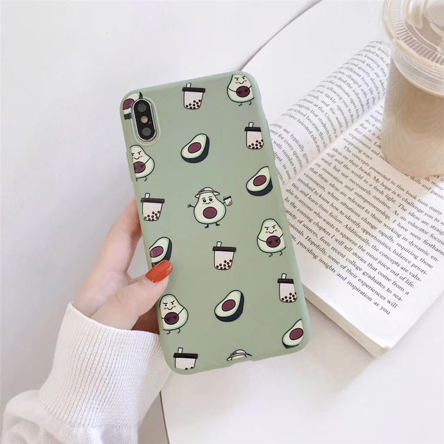 Summer Fruits Avocado Case For iPhone XS Max XR X 6 S S Milk Tea Phone Case For iPhone 6 6S 7 8 Plus Soft TPU Cover