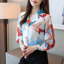 Autumn blouse women 2019 long sleeve shirts for tops button printing chiffon Notched ladies blusas female 0354