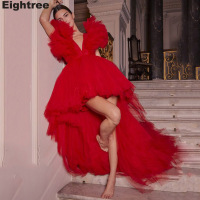 Eightree High Low Red Evening Dresses V Neck Short Formal Party Dress A Line Sexy Ruffles Evening Gowns Robe De Soiree