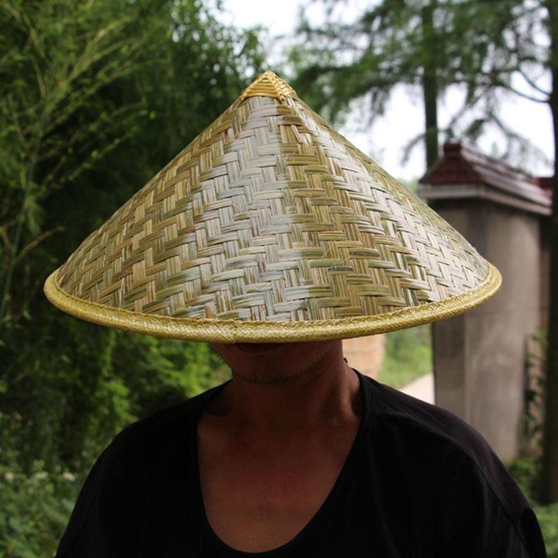 Chinese Style Bamboo Rattan Fisherman Hat Waterproof Retro Handmade Weave Straw Cap Outdoor Farmer Large Wide Sunshade Rain Hats