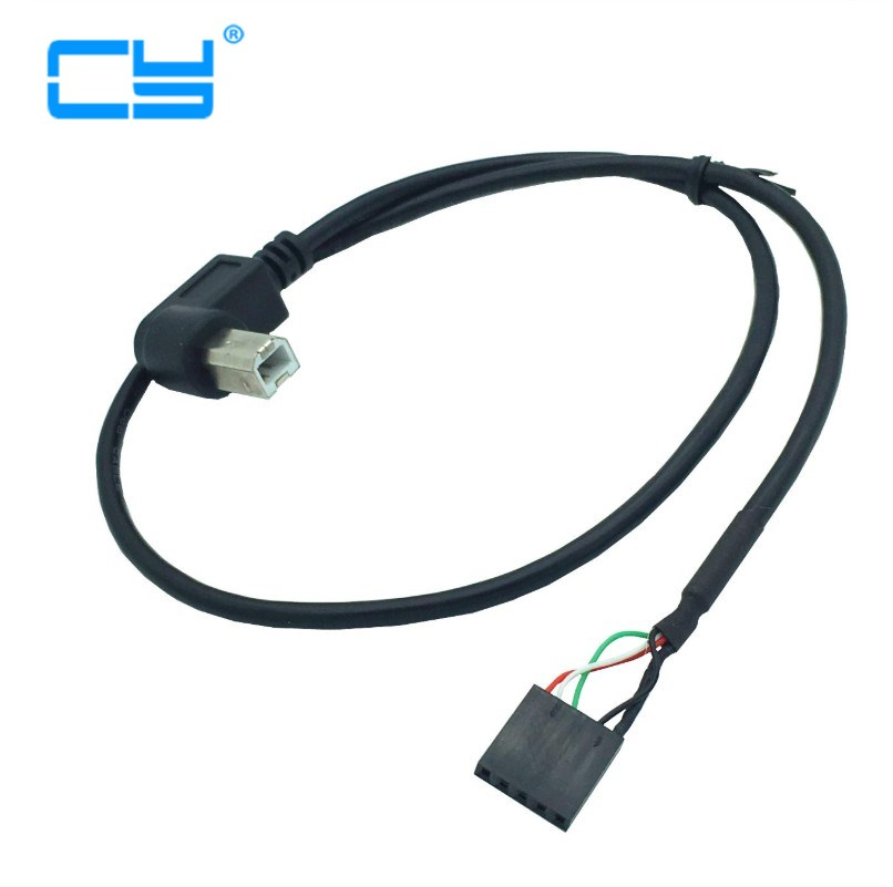 1pcs USB 2.0 B Male Right/Left Angle To Dupont 5 Pin Female Header Motherboard Cable 50cm