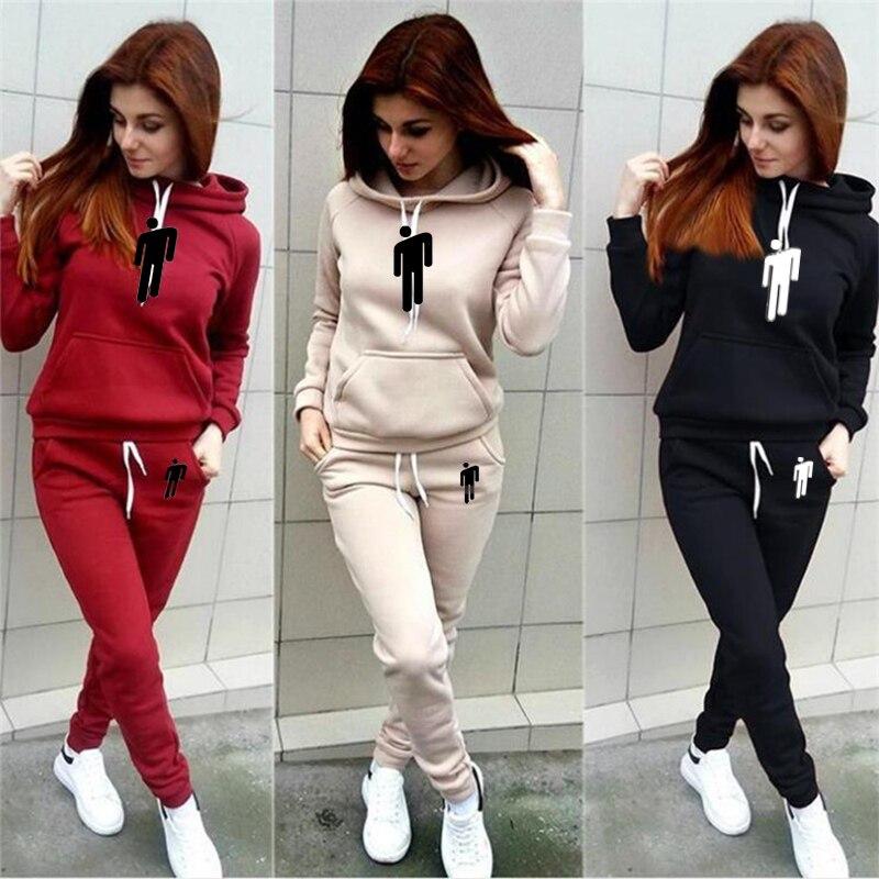 Women 2 Piece Set Billie Eilish Printed Hoodies+Pants New Tracksuit Pullover Hood Sweatshirt Trousers Pockets Tracksuit Sui