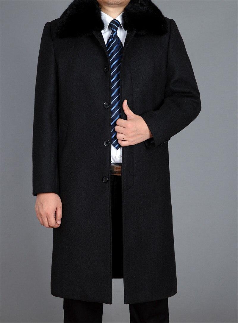 Warm Men's Wool Coat Mens Winter Windbreaker Jacket Thick Rex Rabbit Fur Collar Coats Abrigo Hombre 5XL Jackets WXF527