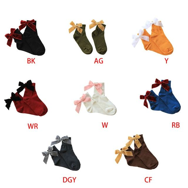 Women's Velvet Bow knot Ankle Socks Solid Color