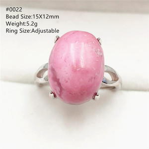 Image 2 - Natural Rose Rhodonite Adjustable Size Ring For Women Men Gift Luxury 925 Sterling Silver Stone Love Rare RIng AAAAA