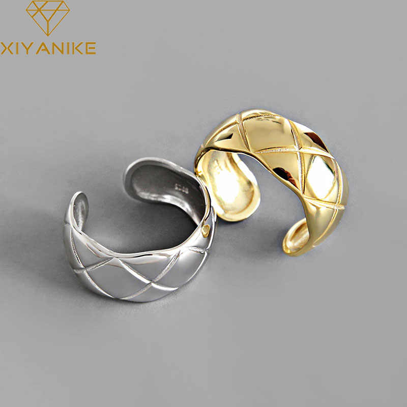 XIYANIKE 925 Sterling Silver Fashion Simple Geometric Rings for Man Women Engagement Weddings Ring Jewelry Prevent Allergy