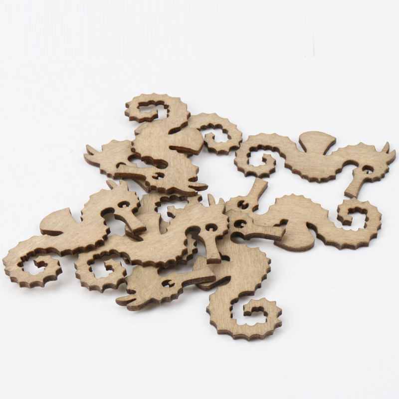 Mixed Sea Horse Pattern Wooden Scrapbooking Art Collection Craft For Handmade Accessory Sewing Home 35x60mm 20pcs