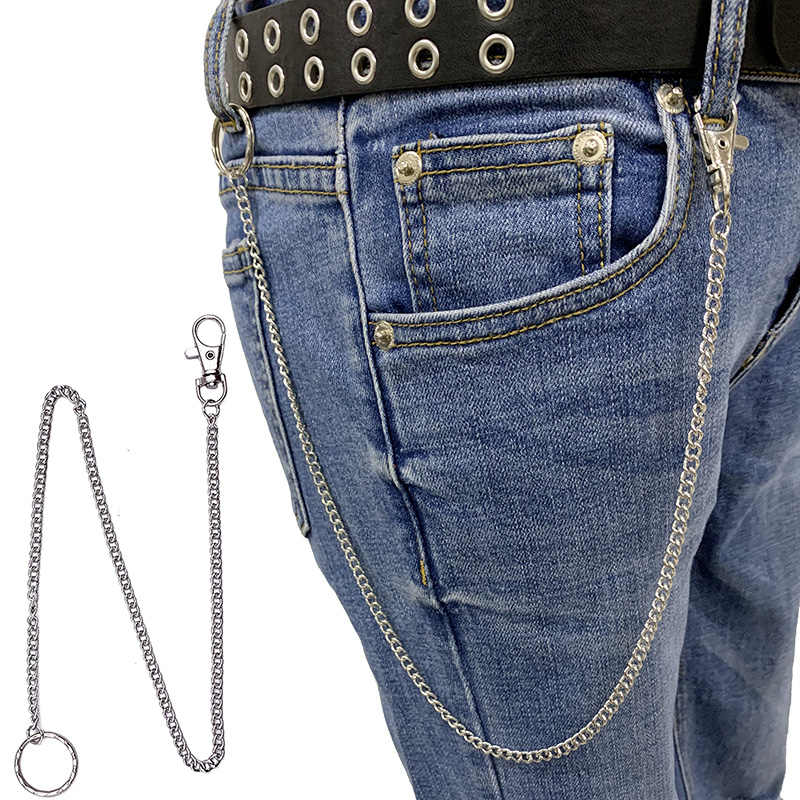 Punk Hip Hop Jeans Metal Key Chains Key Ring Men Women Waist Holder Pants Chain Personality Bag Keychain Pendant Trinket A935