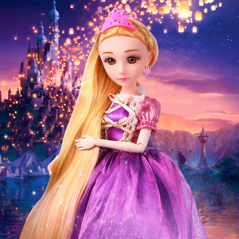 30CM Princess Doll 12 Jonits Moving Toys For Girls Rapunzel Ice White Snow Beauty Thick Full Long Blonde Hair Doll For Children