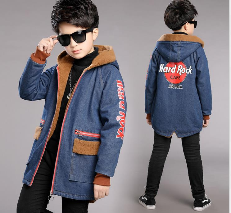 Boys'Autumn New Chao Korean Edition Mid-Autumn Children's Double-faced Fabric Jacket Mid-Spring And Autumn Long-style Children's