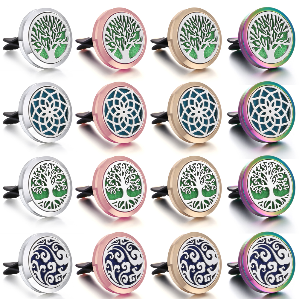 Tree of Life Lotus Flower Diffuser Jewelry Car Perfume Diffuse Aroma Essential Oil Diffuser Aromatherapy Necklace Locket Pendant