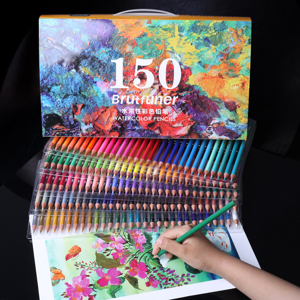 New 120/180 Colors Professional Watercolor Pencils Set Artist Painting Sketching Wood Oil Color Pencil For School Art Supplies