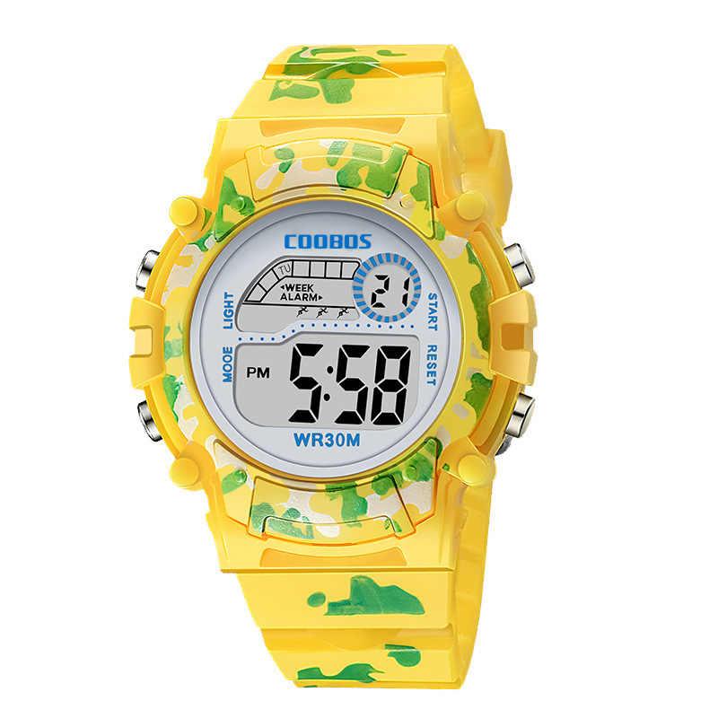 Bleu marine Camouflage enfants montres LED coloré Flash numérique étanche alarme pour garçons filles Date semaine créatif enfants horloge