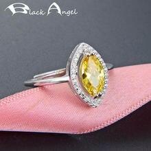 925 Настоящее серебро цитрин кольцо для женщин Свадьба Желтый