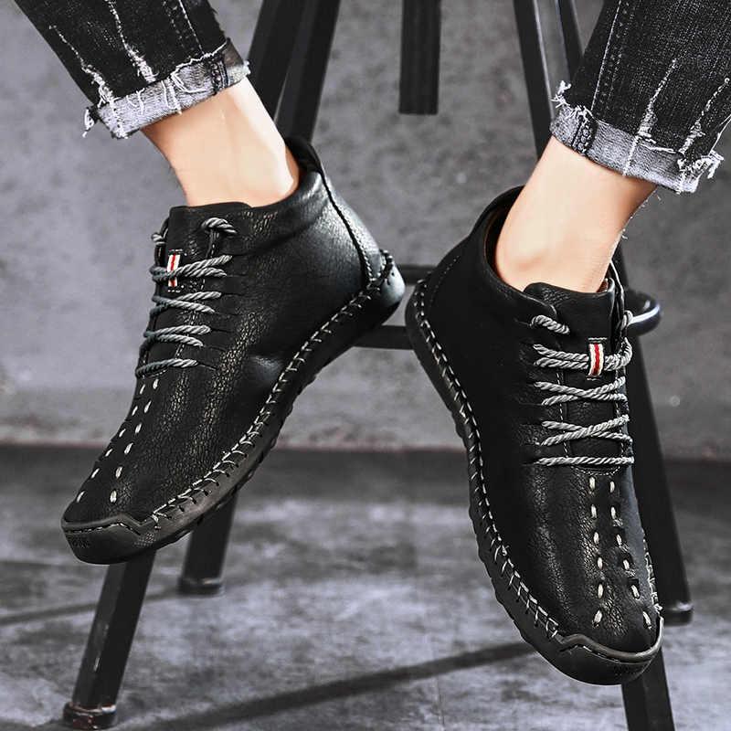 Брендовые зимние мужские ботинки; теплые мужские зимние ботинки из толстого плюша; водонепроницаемые мужские ботильоны на шнуровке; Осенняя мужская повседневная обувь