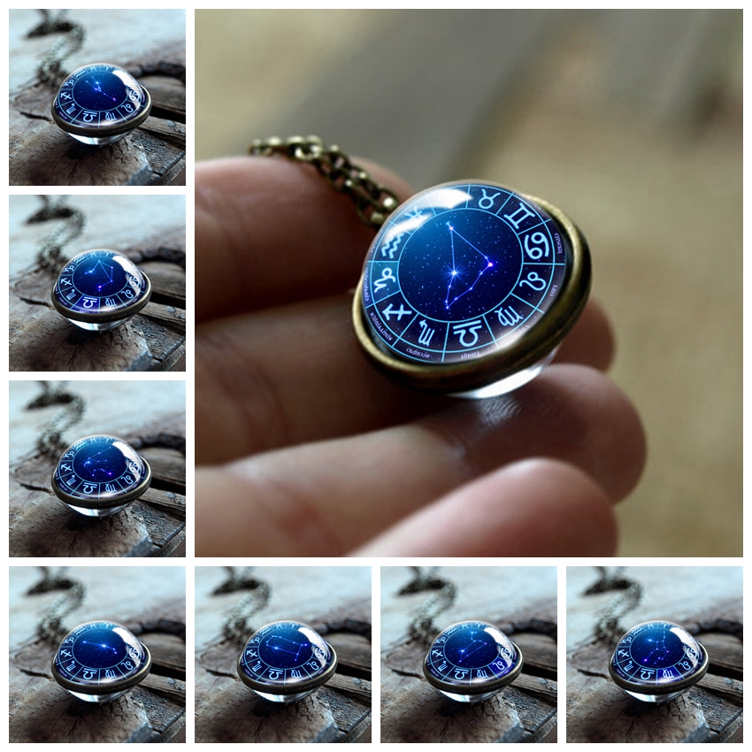 12 Zodiac Double Side Glass Pendant Necklace Leo Virgo Taurus Gemini Scorpio Necklace 12 Constellations Men Women Jewelry