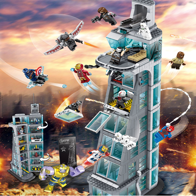 In Stock SuperHeroes Ironman Compatible Lepining Marvel Avenger Tower Fit Avengers Gift Building Block Bricks Toys