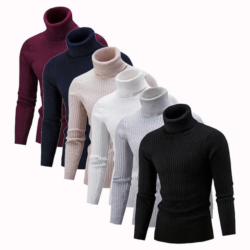 Litthing New Autumn Winter Men's Sweater Men's Turtleneck Solid Color Casual Sweater Men's Slim Fit Brand Knitted Pullovers