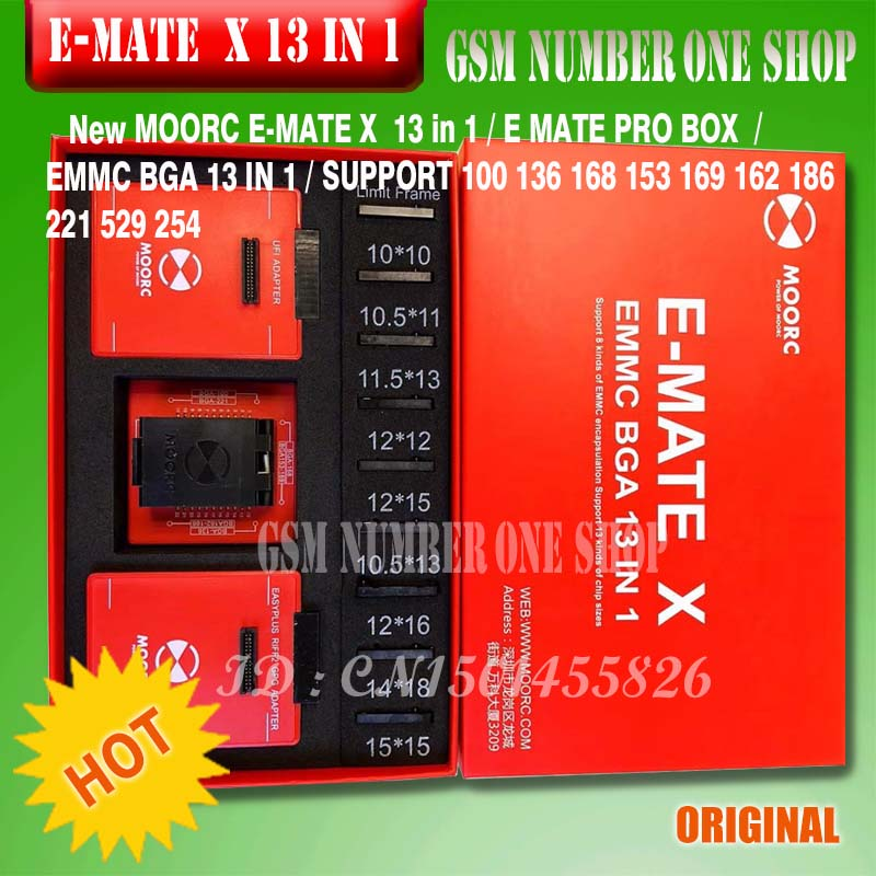 The Newest MOORC High Speed E-MATE X E MATE BOX EMATE EMMC BGA 13in 1 For 100 136 168 153 169 162 186 221 529 254 Easy Jtag Plus