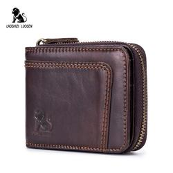 LAOSHIZI LUOSEN Genuine Cowhide Leather Men Wallets Fashion Short Purse Male Dollar Carteira Masculina Card Holder for Money