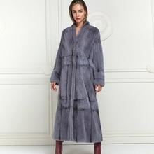 130cm X-long Woman Real Mink Fur Coat Winter Fashion High Quality Full Pelt Mink Fur Coats Outwear Trendy Woman Fur Overcoats
