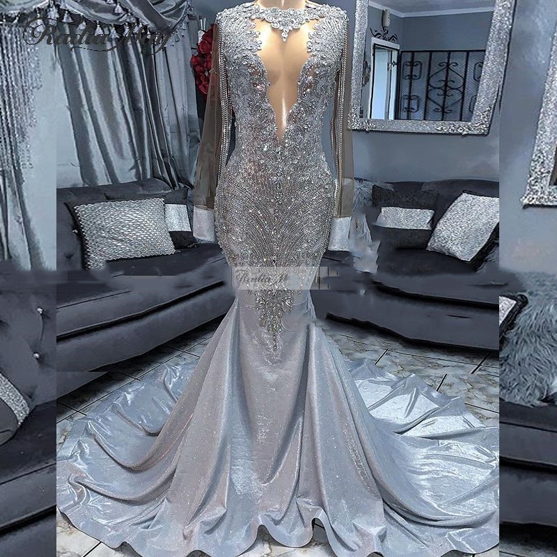 Crystal/Beading Tassel Mermaid Silver Prom Dresses Long Sleeves  African Evening Dress Women Formal Gowns Vestido De Festa