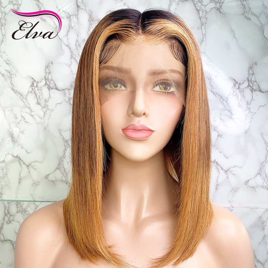 Ombre Blonde Bob 150% Density 13x6 Lace Front Human Hair Wigs With Baby Hair Brazilian Remy Hair Bleached Knots For Black Women