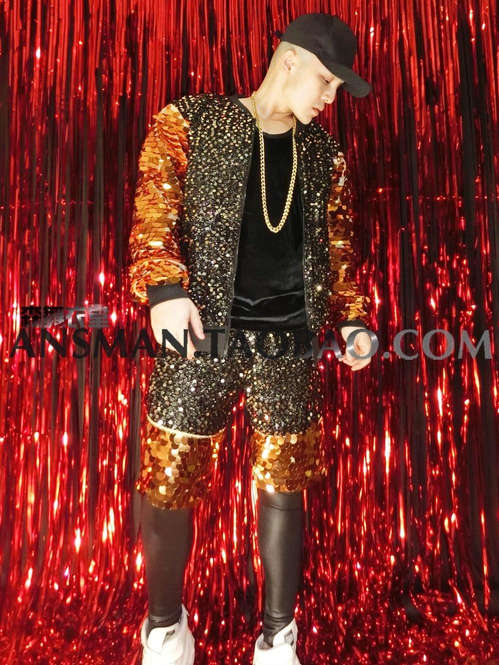 Homme noir or miroir écailles coloré veste manteau discothèque bar chanteur DJDS hip hop baseball uniforme costume Masculino