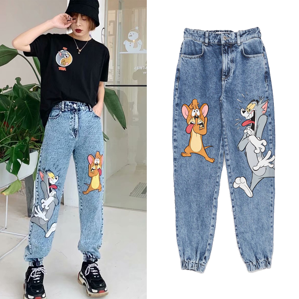 2020 Cartoon Printing Spring Women Jeans Casual Loose High Waist Denim Pants Trousers Vintage Pant Calca Jeans Feminina