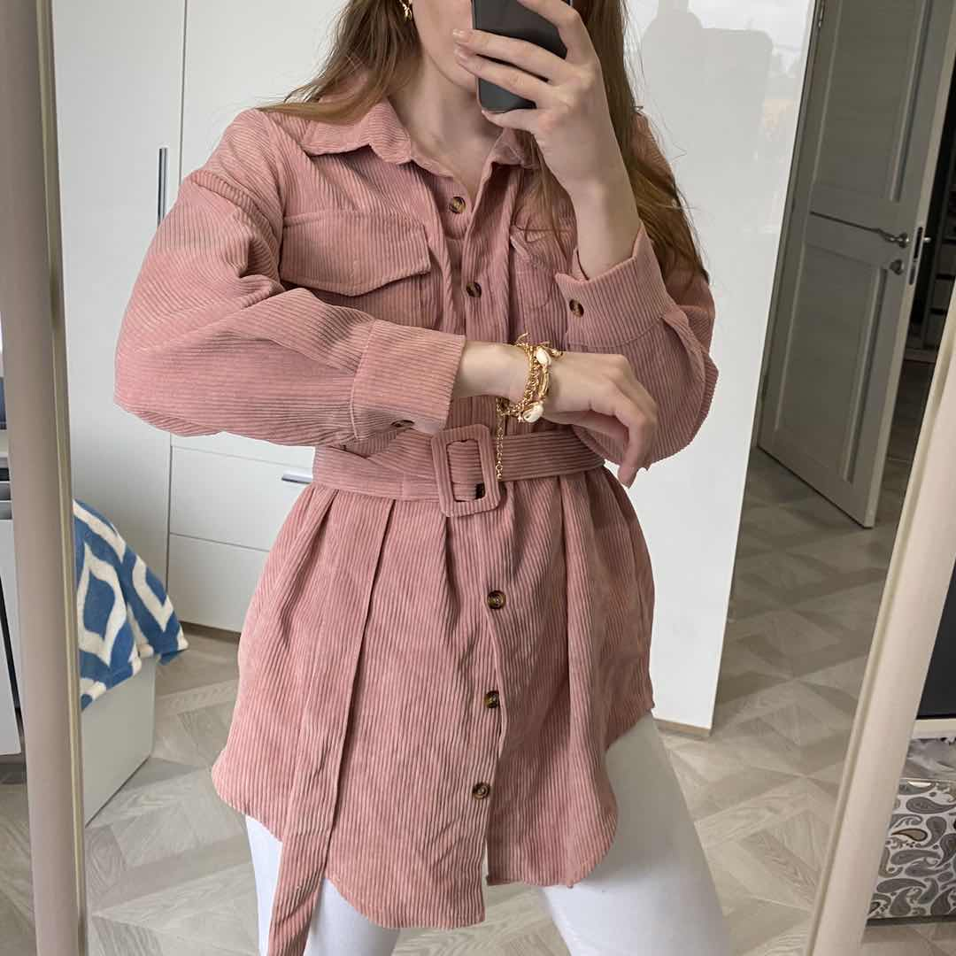 Spring New 2020 Single-breasted Mid-length Shirt for Women Lapel Corduroy Tops Waist Pocket women's clothing(China)