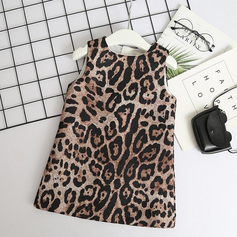 Menoea meninas vestido de verão 2020 estilo americano europeu vestido crianças leopardo padrão flor vestido meninas roupas 3-8y