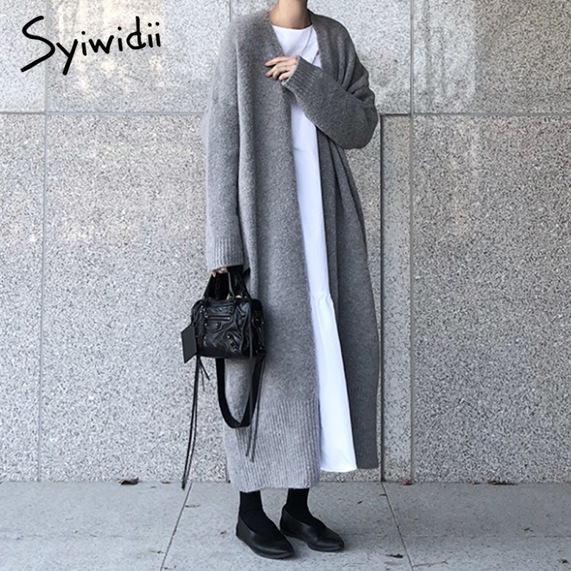 syiwidii new long cardigan women elegant ladies loose ribbed knitted oversize sweaters fashion long coat 2020