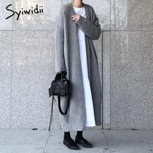 syiwidii new long cardigan women elegant ladies loose ribbed knitted oversize sweaters fashion long coat 2020 autumn and winter