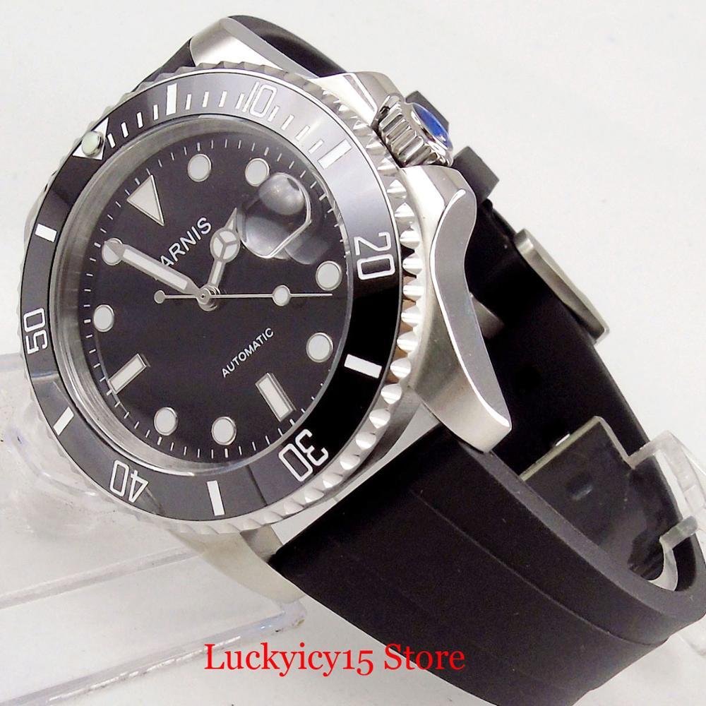 Parnis estilo de negócios prata 40mm relógio automático men sapphire vidro rotativo moldura mingzhu movimento cinta borracha - 5