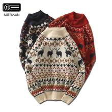 MITEKSAN New Christmas Men Sweater Knitwear Printed Deer Fornite Streetwear Jers
