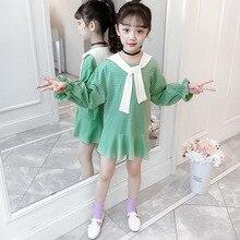 цена на Princess Girls Dress 2020 Summer Stripes Children Long Sleeve Dress Girls Cotton Party Dresses for Kids Clothes 4 6 8 10 12 Year