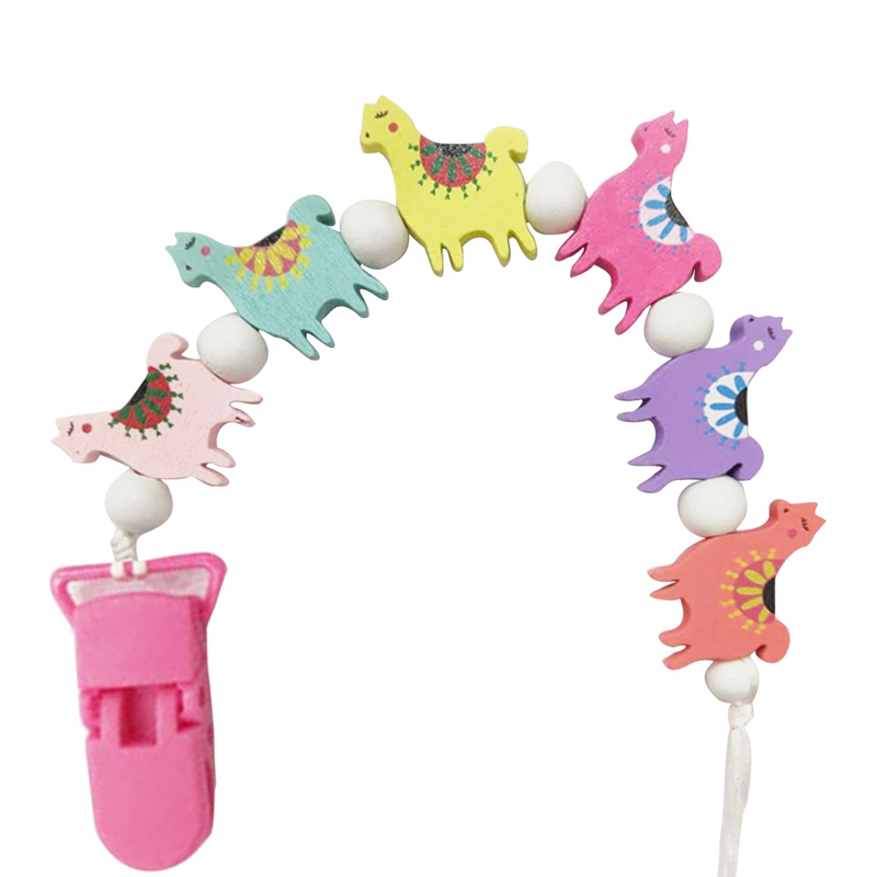 Baby Pacifier Clips Chain Wood Sheep Beads Pacifier Holders Baby Shower Gifts Dummy Toy Teether Anti-Lost Clips Chains