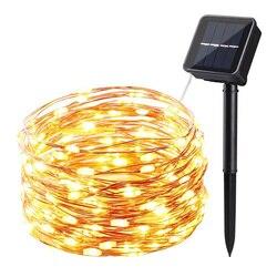 22M 200 Solar LED Strip Lampu Taman Rumah Kawat Tembaga Lampu String Peri Natal Dekorasi Pesta Outdoor Tenaga Surya