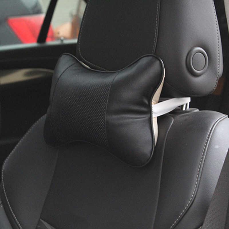 Black Car Headrests Accessories 2PCS Leather Seat Neck Pad Pillow Heat resistant Comfortable