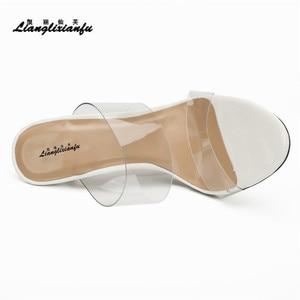 Image 5 - LLXF Hausschuhe zapatos mujer Sommer flip flops Braut Stiletto 13cm Dünne High Heels Sandalen transparent schuhe frau Klassische Pumps