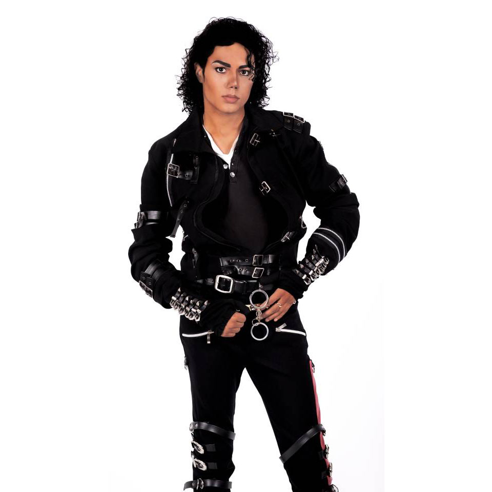 Rare MJ Michael Jackson Black Cotton Elastic Slim BAD Jacket Costume Clothing For Man Adore Stars