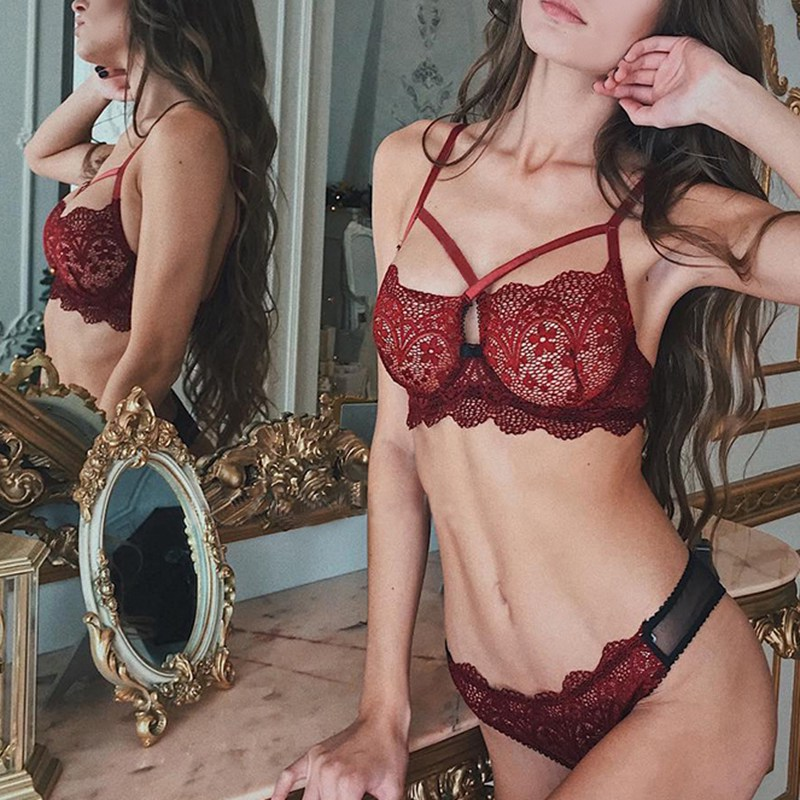 Erotic Bra Set Female Cross Strap Design Sexy Lace Personality Fashion Color Stitching Material Comfortable And Breathable