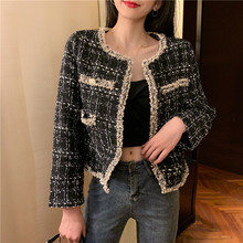 Vintage Double Breasted Frayed Checked Tweed Blazers Coat Women 2020 Fashion Poc