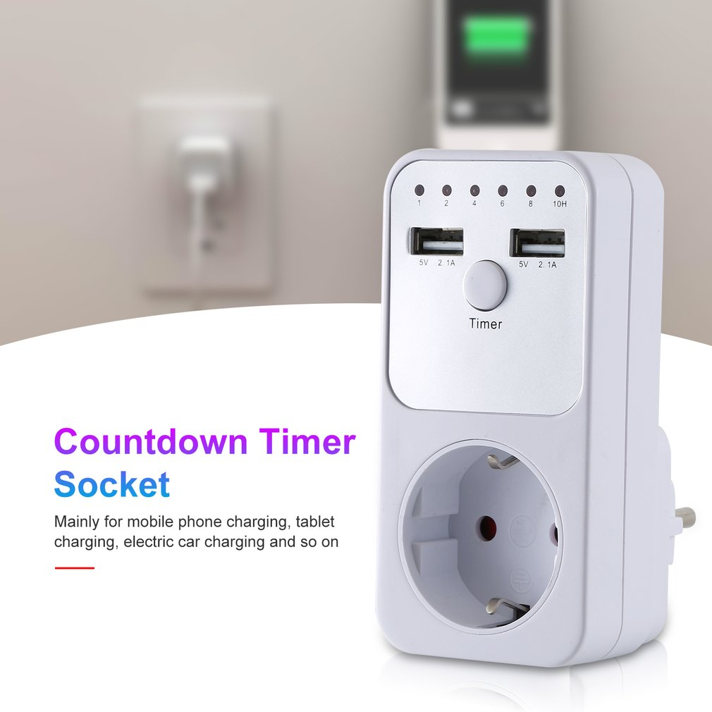 EU Plug Countdown Timer Switch Smart Control Plug-In Socket Auto Shut Off Outlet Electronic Device