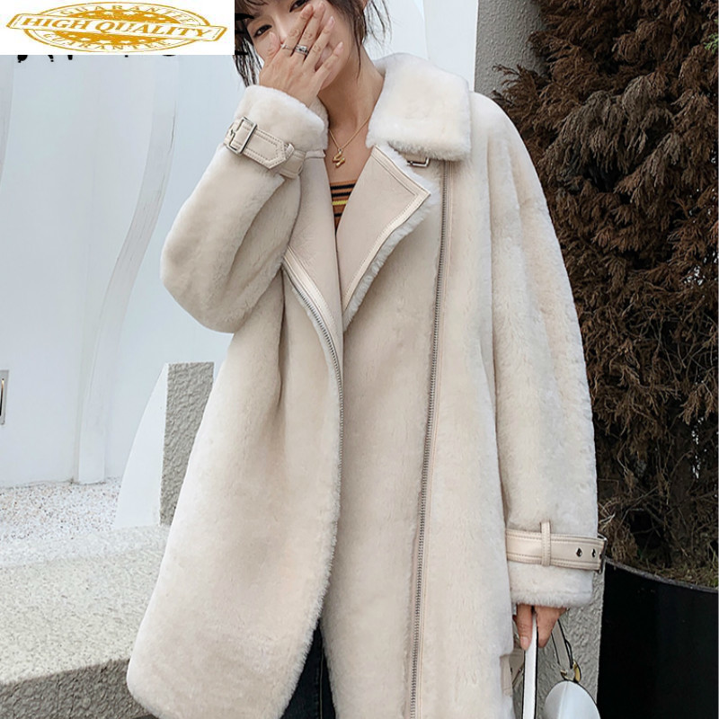 Natural Sheep Shearing Real Fur Coat Women 100% Wool Jacket Women Clothes 2019 Winter Coat Women Korean Fur Tops 8063 YY1847
