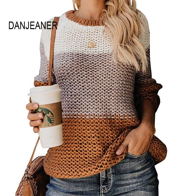 DANJEANER женские свитера и пуловеры 2019 осень зима мода многоцветный женский полувер с круглым вырезом и длинными рукавами джемперы