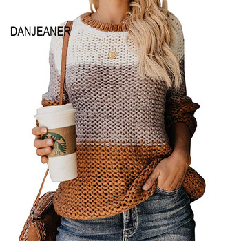 DANJEANER Women Sweaters and Pullovers 2019 Autumn Winter Fashion Multicolor Knitted Sweater Tops O Neck Long Sleeve Jumpers danjeaner long sleeve sweaters women 2018 autumn sexy off shoulder wrap knitted sweaters tops v neck slim pullovers jumper shawl