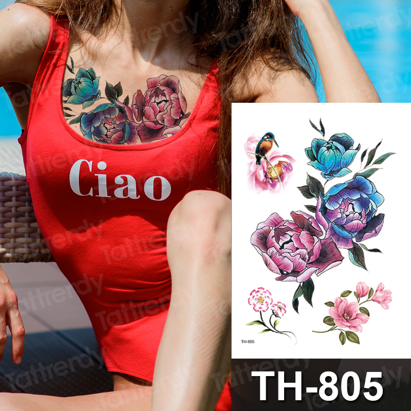 Sternum Temporary Tattoos For Girls Unique Flower Tattoos Sticker Purple Peony Drawing Rose Birds Leaves Tatoo Watercolor Summer